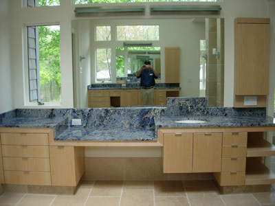 Private Residence Blue Bahia Granite, Very Rare And Quarried From Boulders  In Brazil, Was