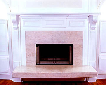 This fireplace was designed to be used from two rooms the living