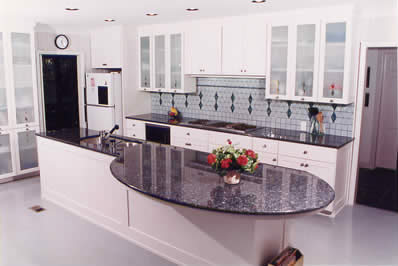 Granite countertops and kitchens in durham and raleigh for White kitchen cabinets with blue pearl granite